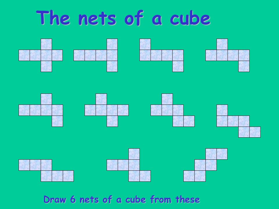 The nets of a cube Draw 6 nets of a cube from these