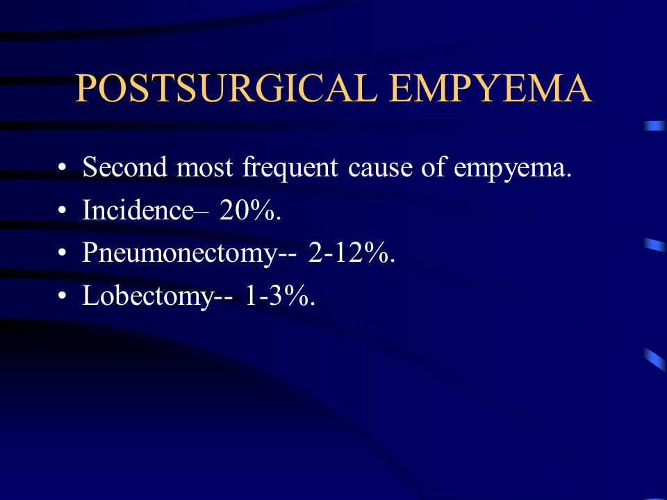 POSTSURGICAL EMPYEMA Second most frequent cause of empyema. Incidence– 20%. Pneumonectomy-- 2-12%. Lobectomy-- 1-3%.