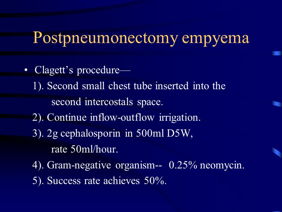 Postpneumonectomy empyema Clagett's procedure— 1). Second small chest tube inserted into the second intercostals space. 2). Continue inflow-outflow ir