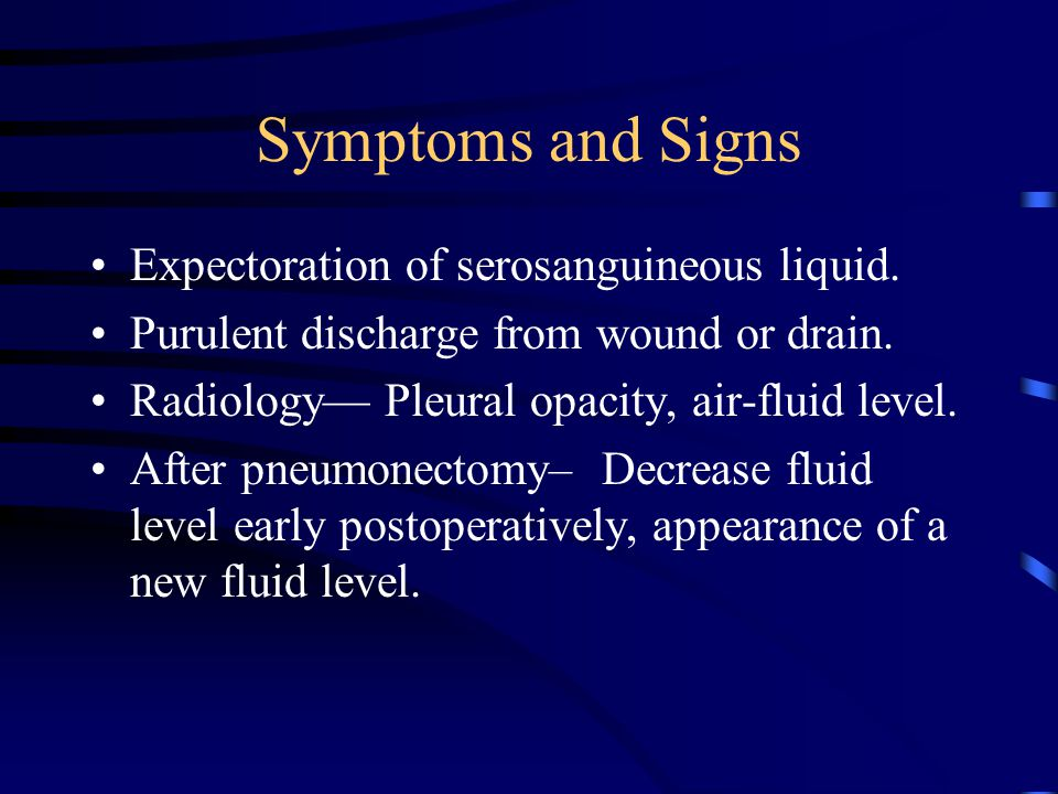 Symptoms and Signs Expectoration of serosanguineous liquid. Purulent discharge from wound or drain. Radiology— Pleural opacity, air-fluid level. After