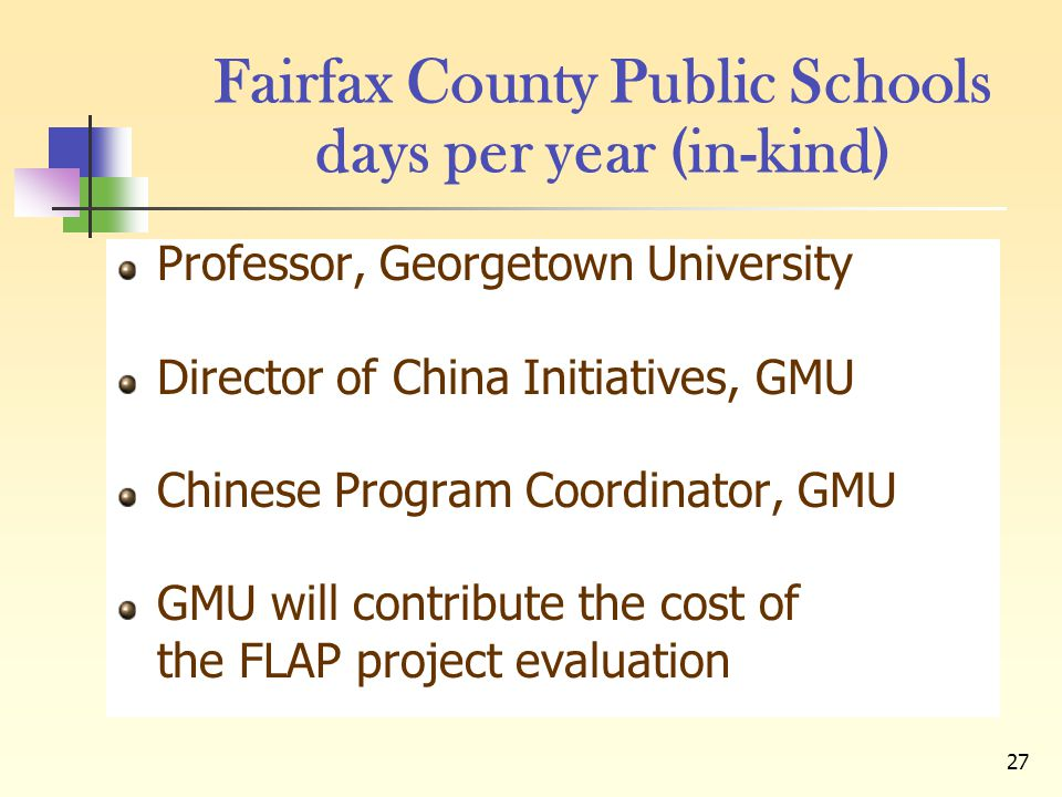 27 Fairfax County Public Schools days per year (in-kind) Professor, Georgetown University Director of China Initiatives, GMU Chinese Program Coordinat