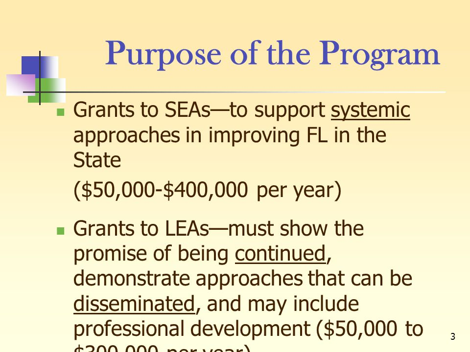 3 Purpose of the Program Grants to SEAs—to support systemic approaches in improving FL in the State ($50,000-$400,000 per year) Grants to LEAs—must sh