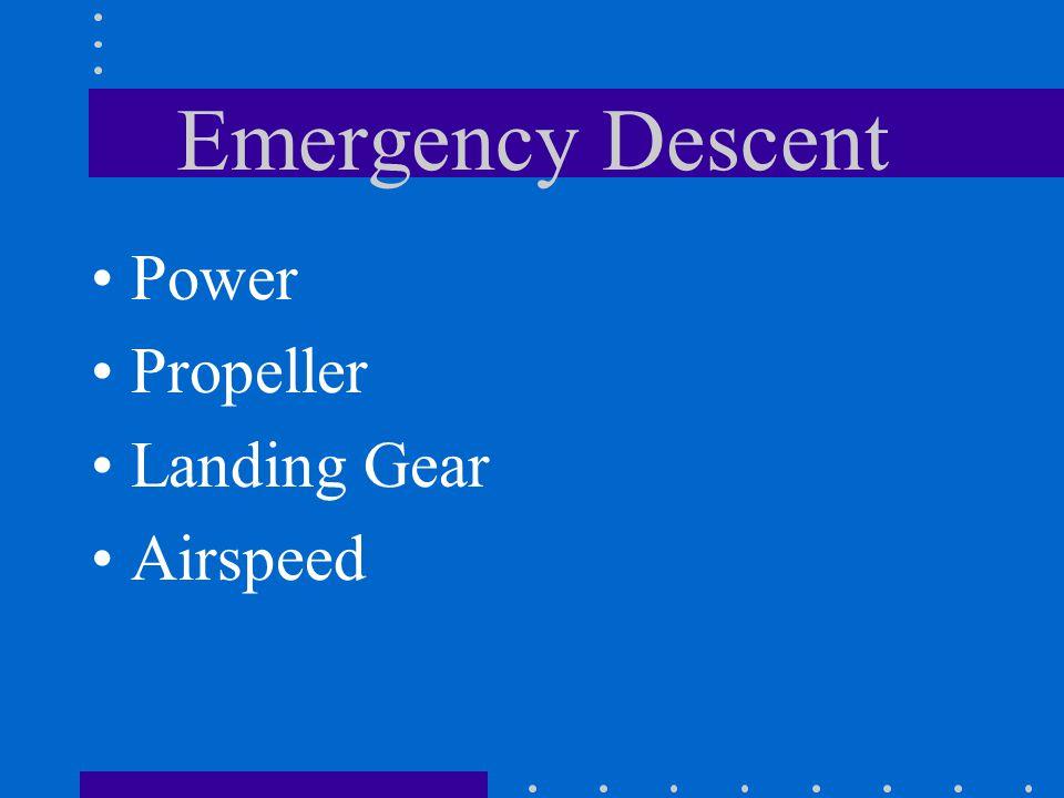 Bonanza F33A Emergency Airspeeds (3400 lbs) Emergency Descent154 Maximum Glide Range105 Emergency Landing Approach 83