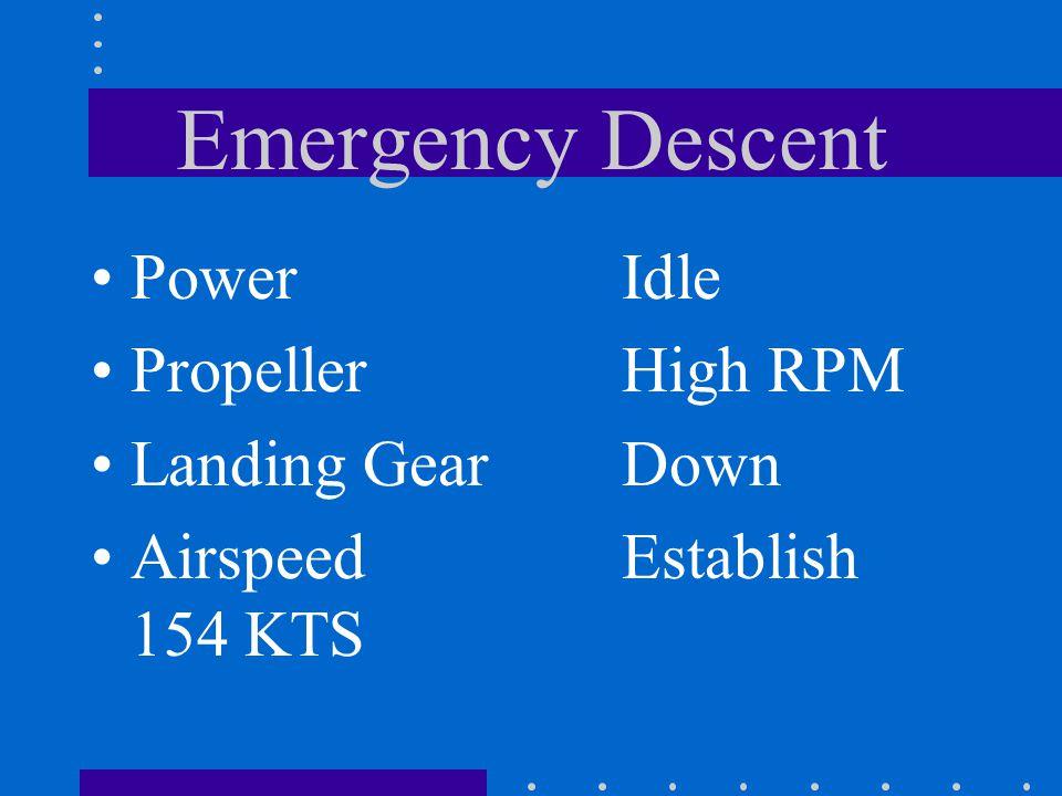 Emergency Descent Power Propeller Landing Gear Airspeed