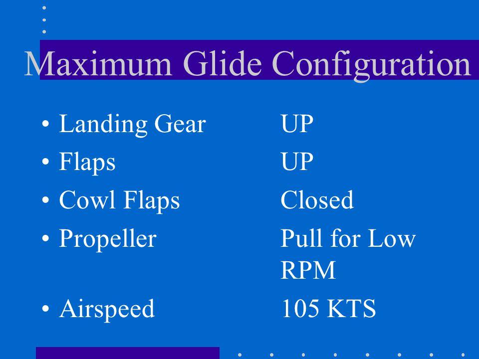 Maximum Glide Configuration Landing Gear Flaps Cowl Flaps Propeller Airspeed