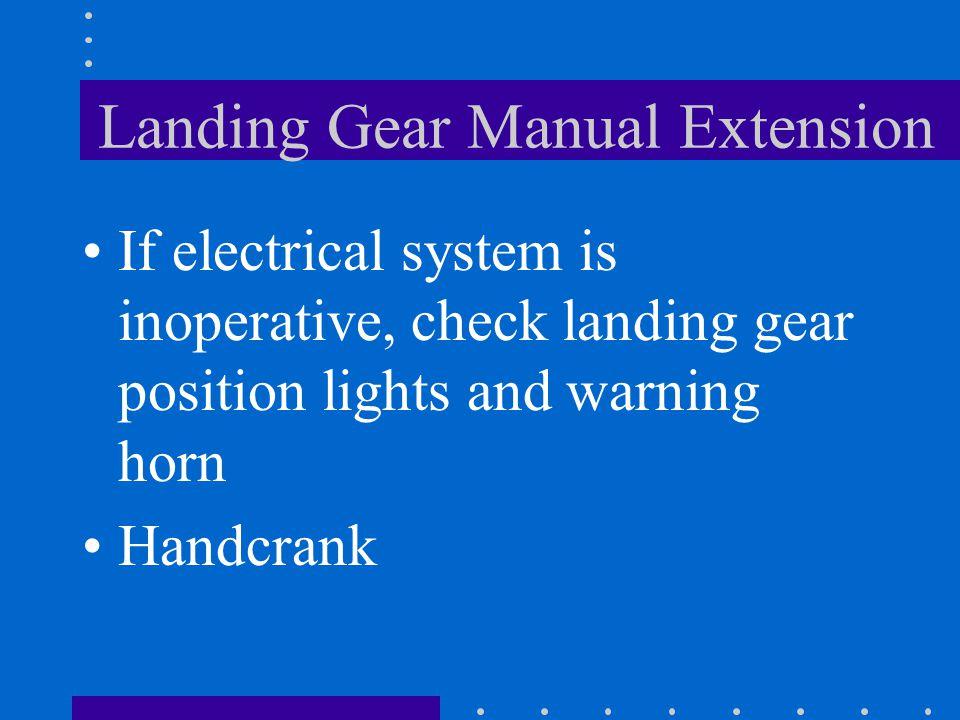 Landing Gear Manual Extension LDG GR Motor Circuit Breaker Landing Gear Switch Handle Handcrank Handle Cover Handcrank