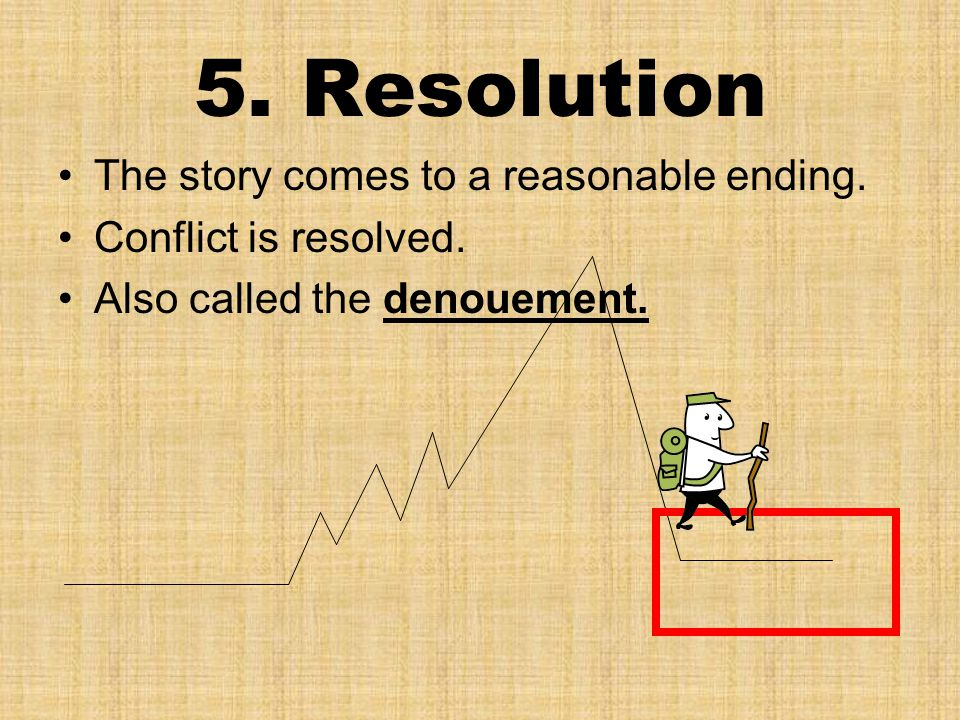 5. Resolution The story comes to a reasonable ending. Conflict is resolved. Also called the denouement.