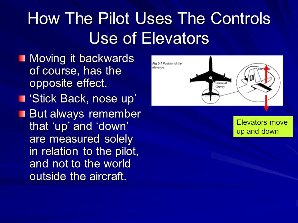 How The Pilot Uses The Controls Use of Elevators Moving it backwards of course, has the opposite effect. 'Stick Back, nose up' But always remember tha