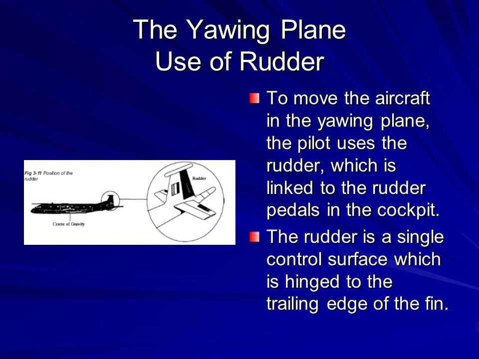The Yawing Plane Use of Rudder To move the aircraft in the yawing plane, the pilot uses the rudder, which is linked to the rudder pedals in the cockpi