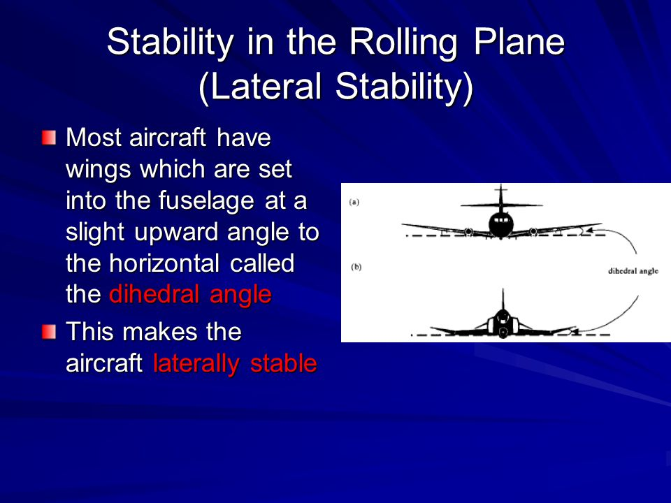 Stability in the Rolling Plane (Lateral Stability) Most aircraft have wings which are set into the fuselage at a slight upward angle to the horizontal