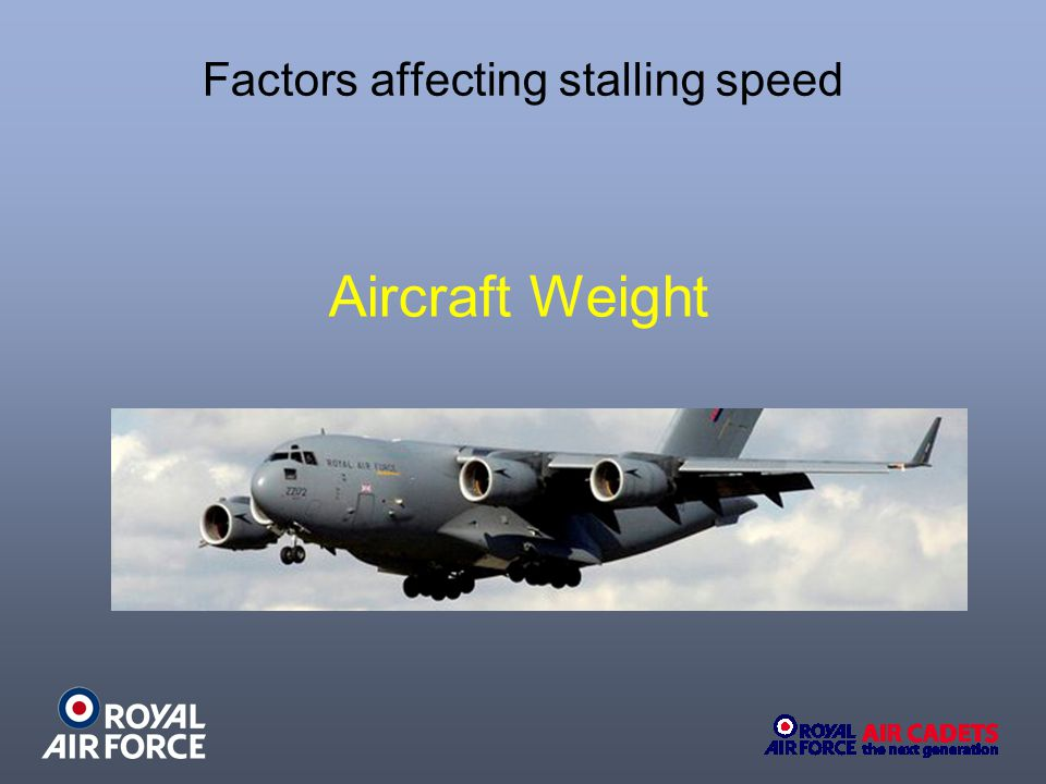 Factors affecting stalling speed Aircraft Weight