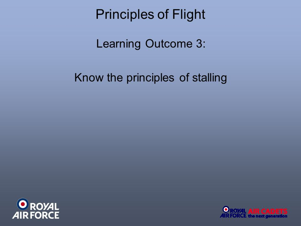 Summary of Stalling Speeds What happens to the Stalling Speed if: Aircraft Weight Increases: Increase.