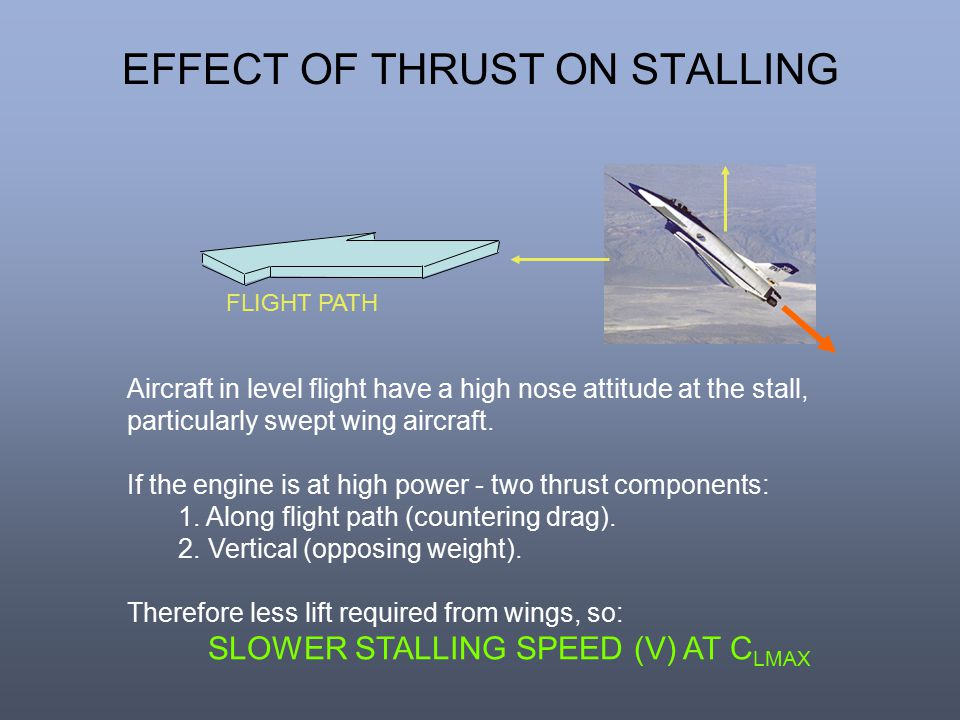 Aircraft in level flight have a high nose attitude at the stall, particularly swept wing aircraft. If the engine is at high power - two thrust compone