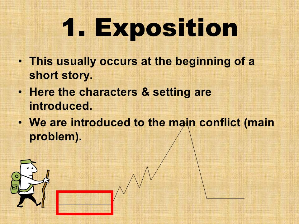 1. Exposition This usually occurs at the beginning of a short story. Here the characters & setting are introduced. We are introduced to the main confl