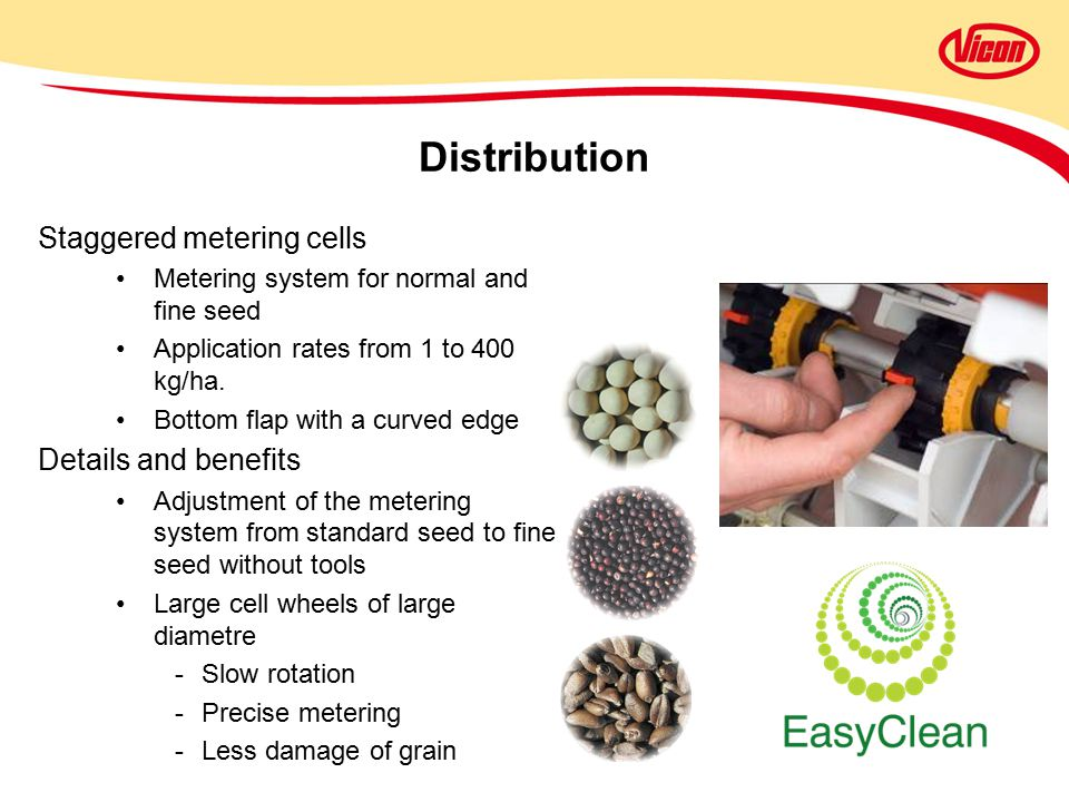 Staggered metering cells Metering system for normal and fine seed Application rates from 1 to 400 kg/ha.