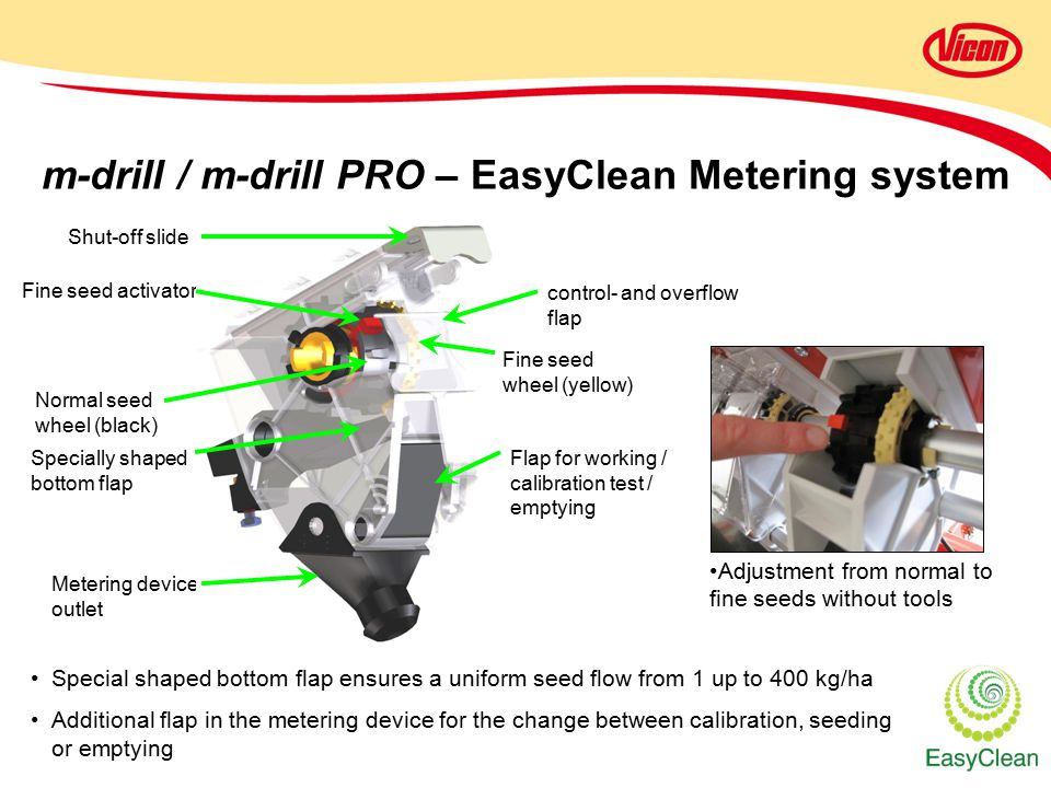 m-drill / m-drill PRO – EasyClean Metering system Shut-off slide Fine seed activator Normal seed wheel (black) Fine seed wheel (yellow) control- and overflow flap Specially shaped bottom flap Flap for working / calibration test / emptying Metering device outlet Special shaped bottom flap ensures a uniform seed flow from 1 up to 400 kg/ha Additional flap in the metering device for the change between calibration, seeding or emptying Adjustment from normal to fine seeds without tools