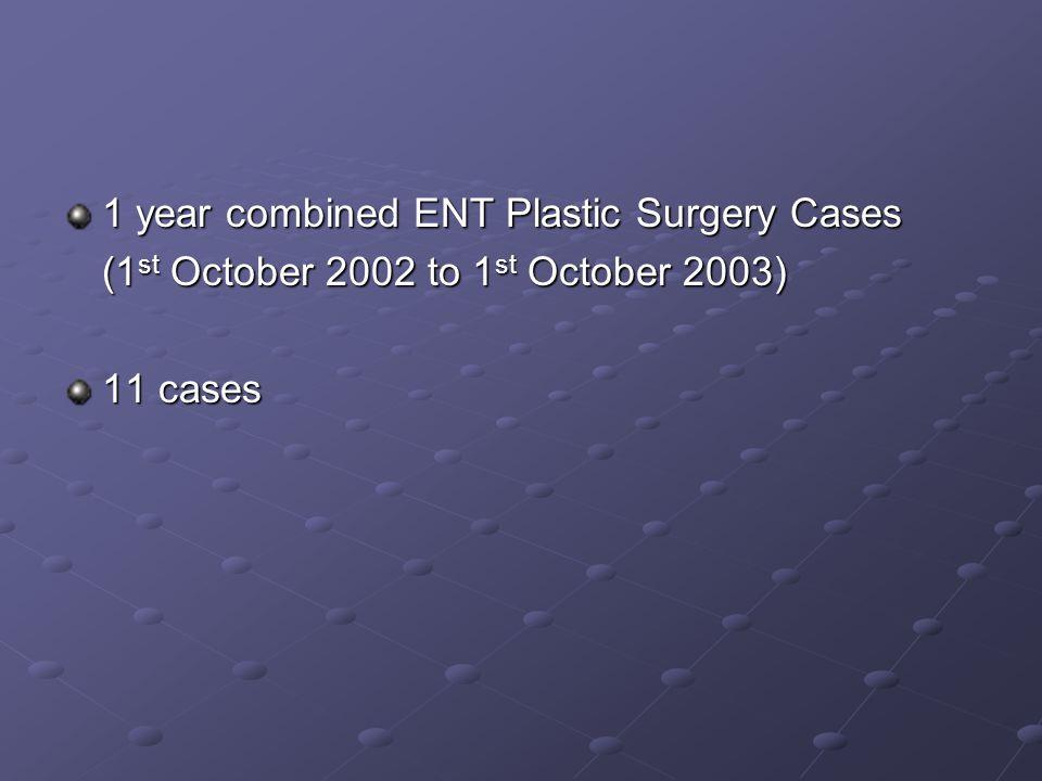 1 year combined ENT Plastic Surgery Cases (1 st October 2002 to 1 st October 2003) 11 cases