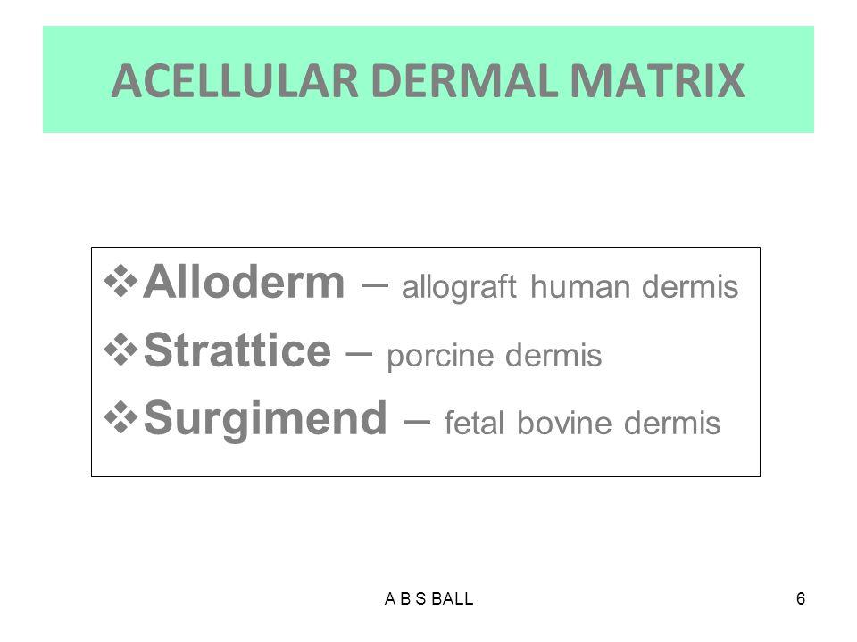 A B S BALL7 FBADM  Acellular biologic matrix derived from fetal bovine dermis, a rich source of Type III collagen.