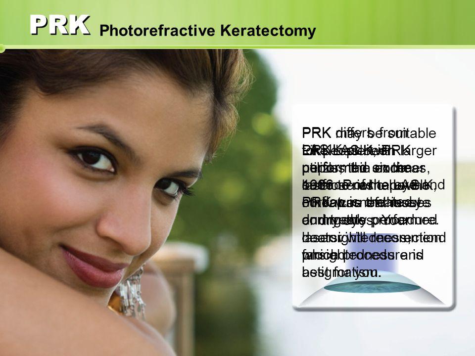 PRK Photorefractive Keratectomy PRK has been performed since 1986.