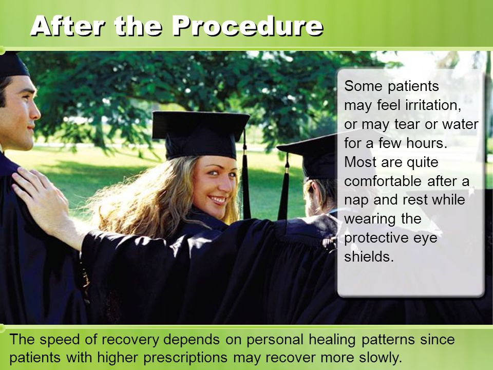 After the Procedure Some patients may feel irritation, or may tear or water for a few hours.