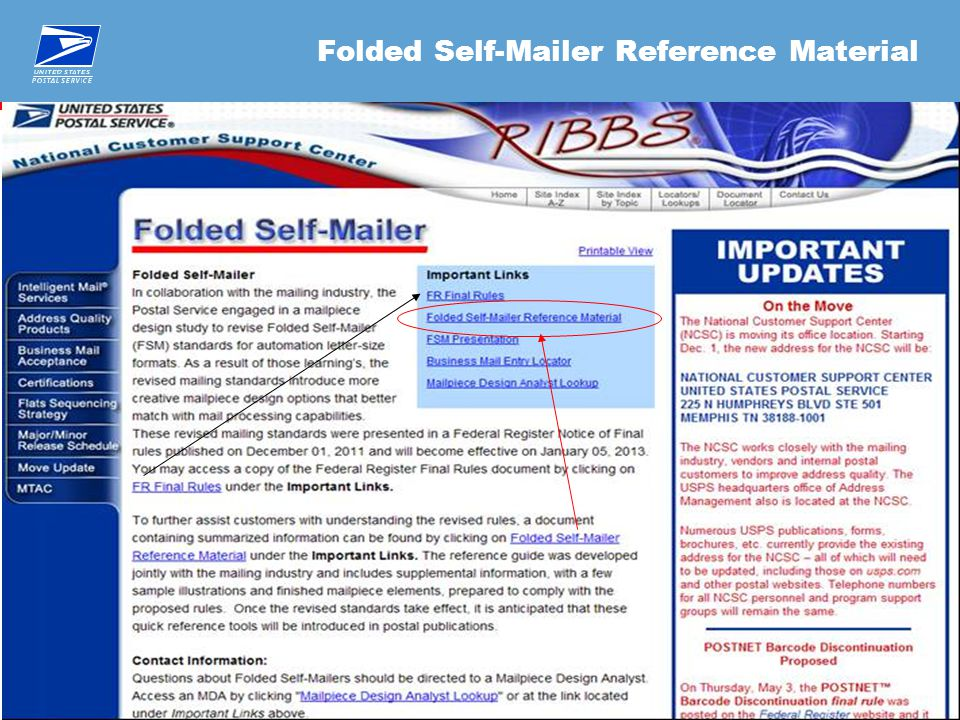 28 Folded Self-Mailer Reference Material