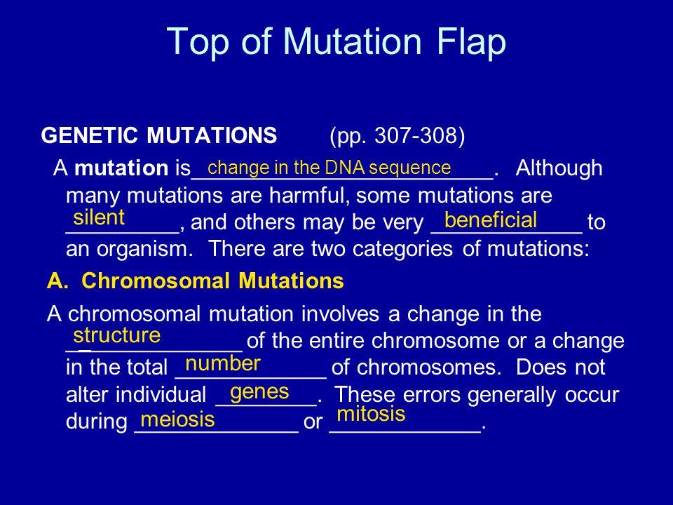 Top of Mutation Flap GENETIC MUTATIONS (pp. 307-308) A mutation is________________________.