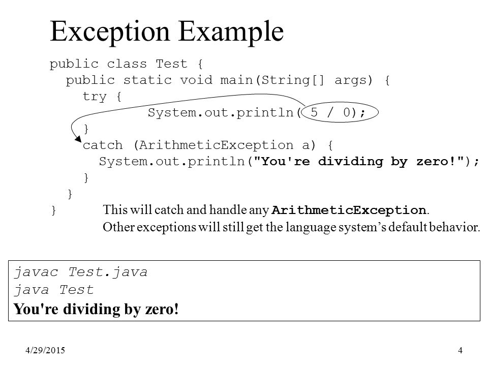 4/29/20154 Exception Example public class Test { public static void main(String[] args) { try { System.out.println( 5 / 0); } catch (ArithmeticExcepti