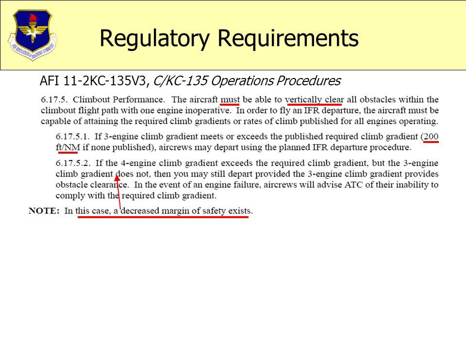 Regulatory Requirements AFI 11-2KC-135V3, C/KC-135 Operations Procedures