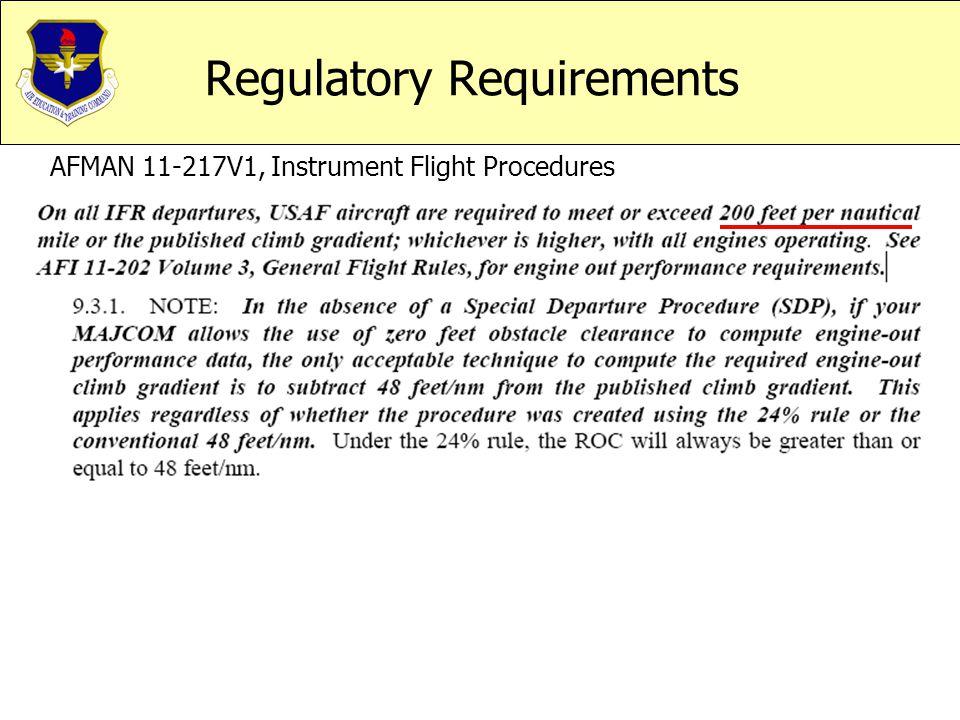 Regulatory Requirements AFMAN 11-217V1, Instrument Flight Procedures