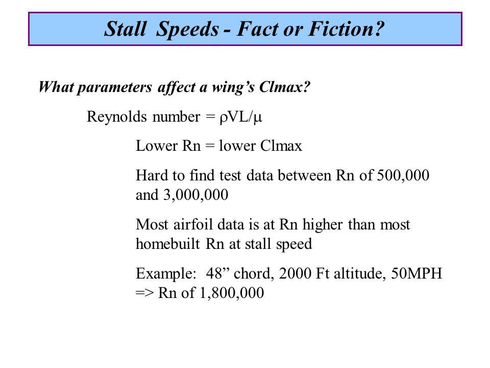 What parameters affect a wing's Clmax.Parameter ParameterClmax Design Speed   Rn  Lift Dist.