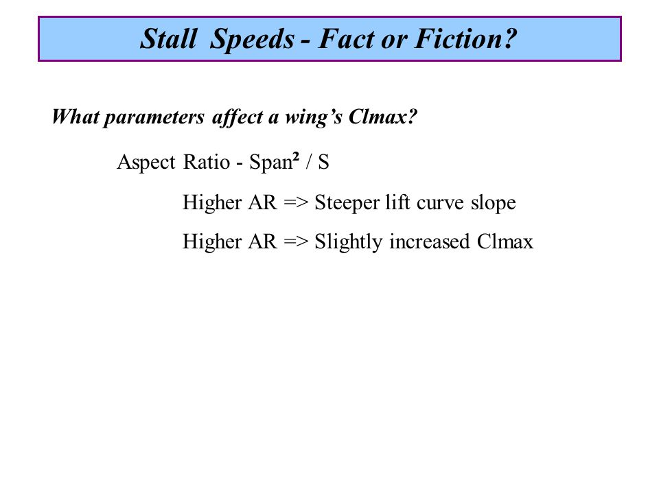 Circulation Stall Speeds - Fact or Fiction?