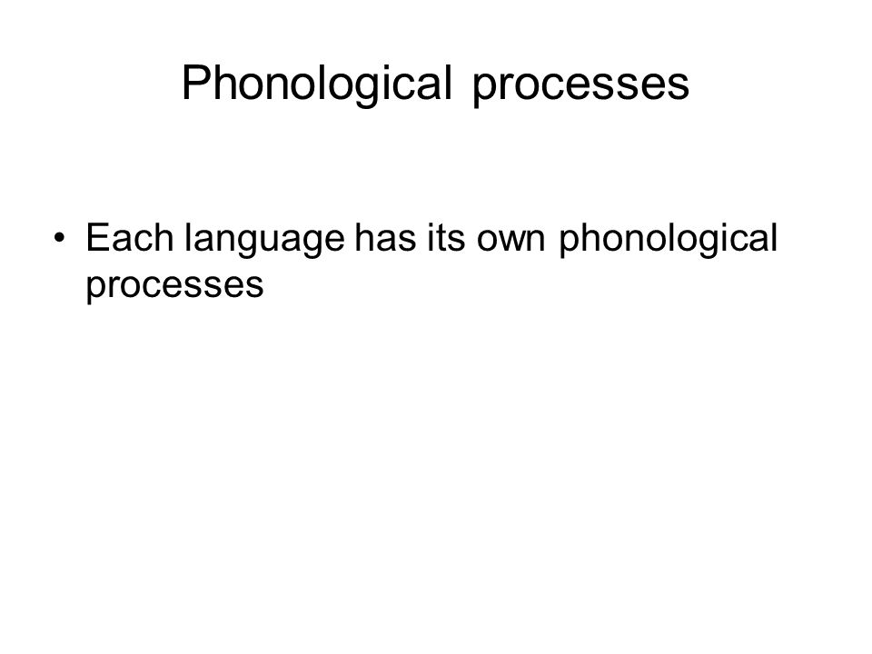 Phonological processes Each language has its own phonological processes