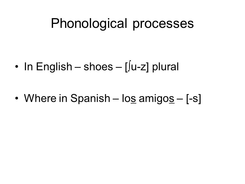 Phonological processes In English – shoes – [ ∫ u-z] plural Where in Spanish – los amigos – [-s]