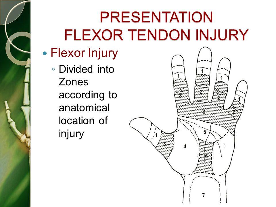 PRESENTATION FLEXOR TENDON INJURY Flexor Injury ◦ Divided into Zones according to anatomical location of injury 44