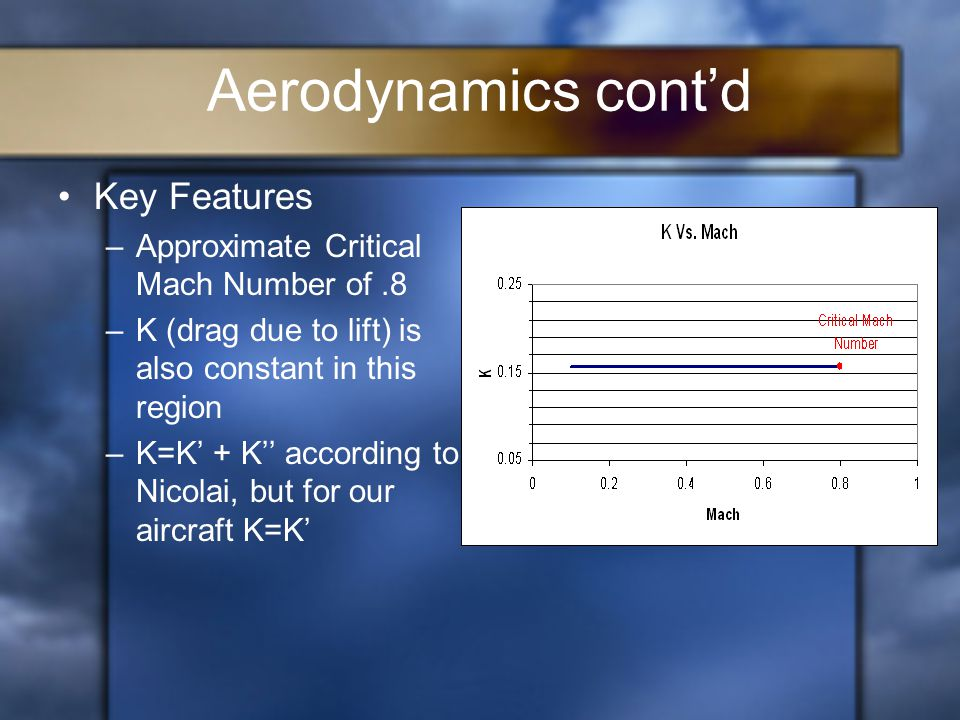 Aerodynamics cont'd Key Features –Approximate Critical Mach Number of.8 –K (drag due to lift) is also constant in this region –K=K' + K'' according to Nicolai, but for our aircraft K=K'