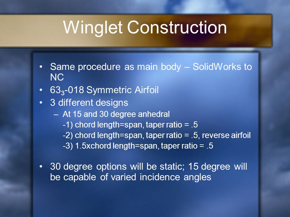 Winglet Construction Same procedure as main body – SolidWorks to NC 63 3 -018 Symmetric Airfoil 3 different designs –At 15 and 30 degree anhedral -1) chord length=span, taper ratio =.5 -2) chord length=span, taper ratio =.5, reverse airfoil -3) 1.5xchord length=span, taper ratio =.5 30 degree options will be static; 15 degree will be capable of varied incidence angles