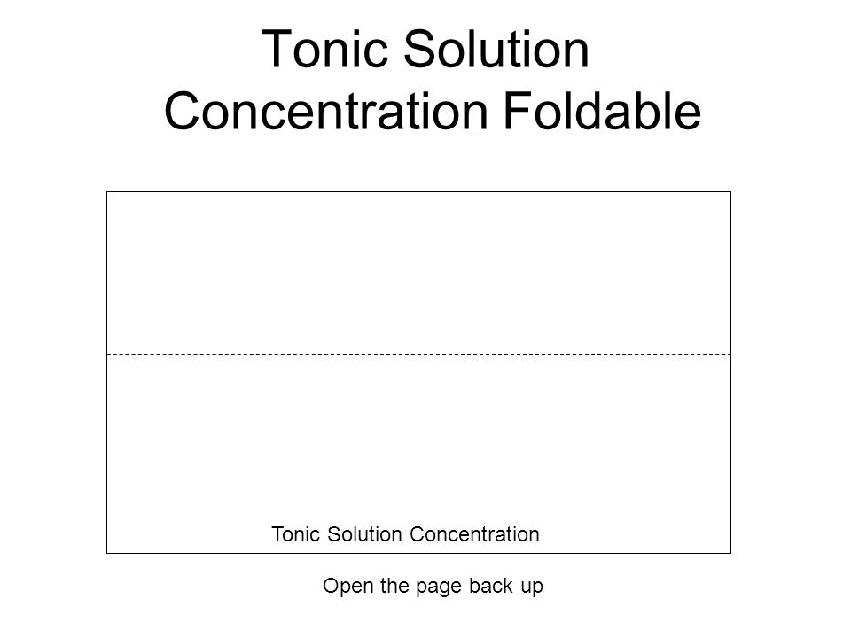 Tonic Solution Concentration Foldable Open the page back up Tonic Solution Concentration