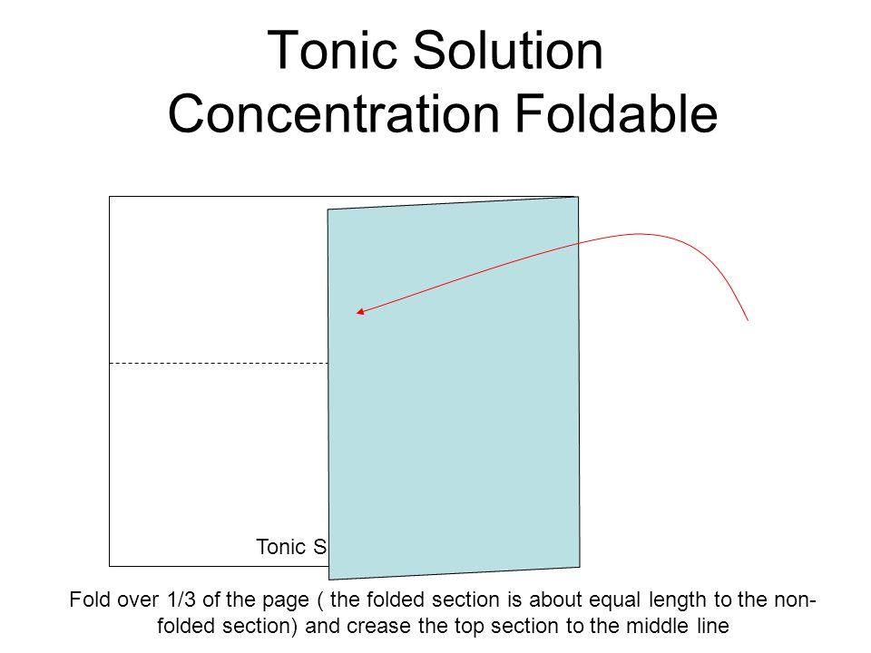 Tonic Solution Concentration Foldable Fold over 1/3 of the page ( the folded section is about equal length to the non- folded section) and crease the
