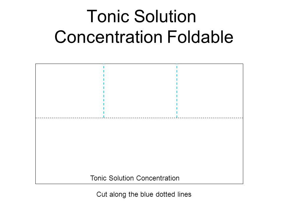 Tonic Solution Concentration Foldable Cut along the blue dotted lines Tonic Solution Concentration
