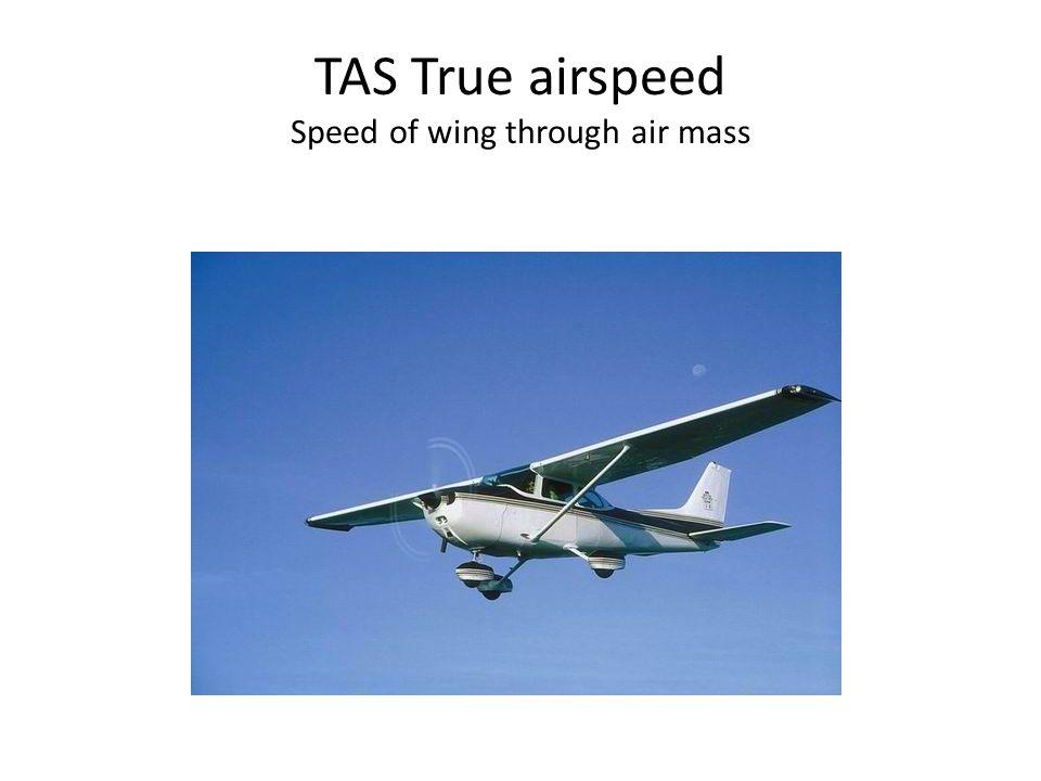 TAS True airspeed Speed of wing through air mass
