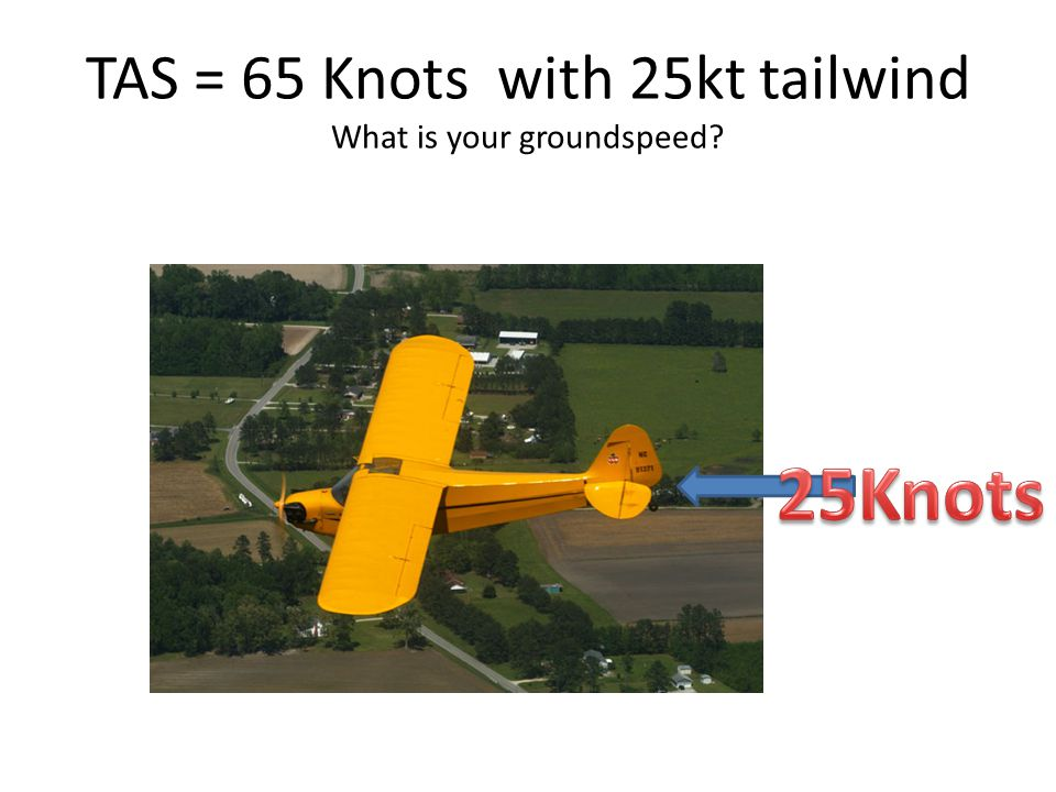 TAS = 65 Knots with 25kt tailwind What is your groundspeed?