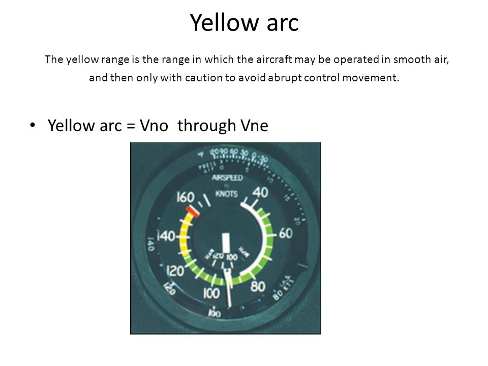 Yellow arc The yellow range is the range in which the aircraft may be operated in smooth air, and then only with caution to avoid abrupt control movem