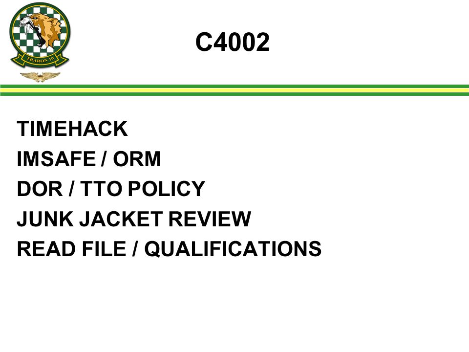 C4002 TIMEHACK IMSAFE / ORM DOR / TTO POLICY JUNK JACKET REVIEW READ FILE / QUALIFICATIONS