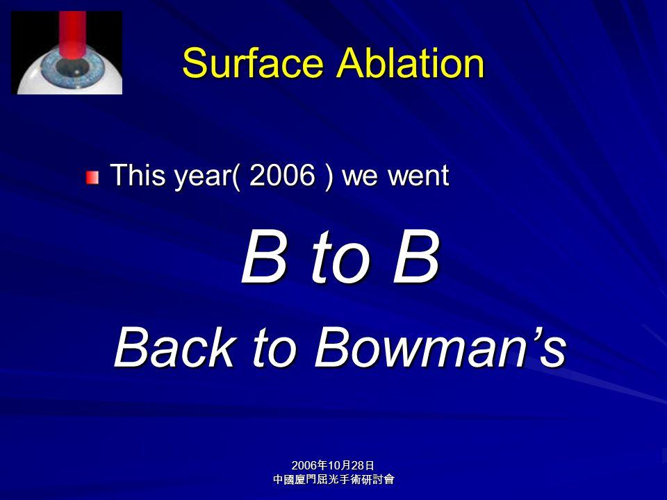 2006 年 10 月 28 日 中國廈門屈光手術研討會 Surface Ablation This year( 2006 ) we went B to B Back to Bowman's