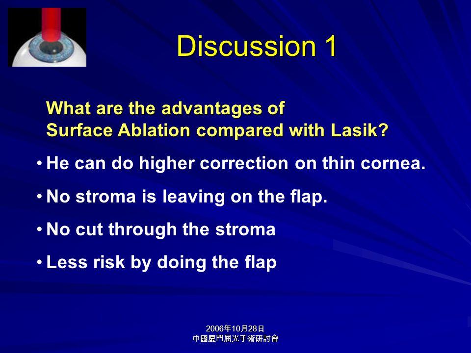 2006 年 10 月 28 日 中國廈門屈光手術研討會 What are the advantages of Surface Ablation compared with Lasik.
