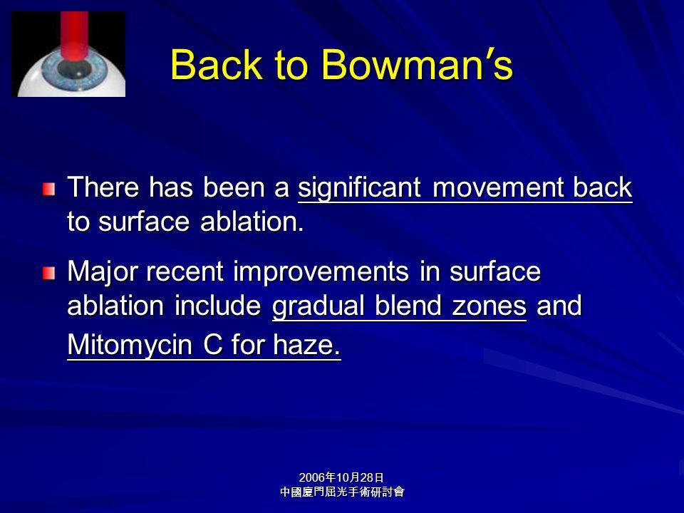 2006 年 10 月 28 日 中國廈門屈光手術研討會 Back to Bowman ' s There has been a significant movement back to surface ablation. Major recent improvements in surface a