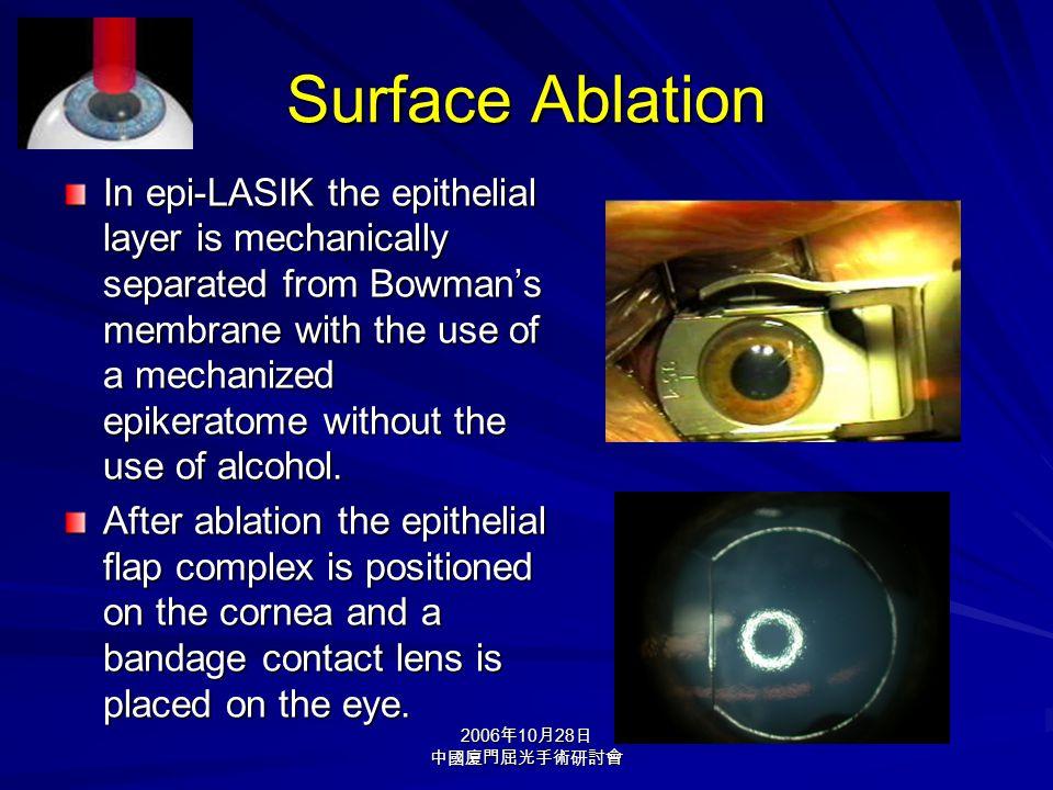 2006 年 10 月 28 日 中國廈門屈光手術研討會 Surface Ablation In epi-LASIK the epithelial layer is mechanically separated from Bowman's membrane with the use of a mec
