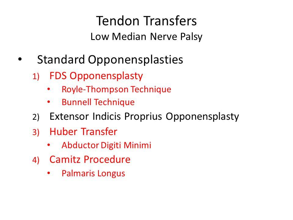 Tendon Transfers Low Median Nerve Palsy Standard Opponensplasties 1) FDS Opponensplasty Royle-Thompson Technique Bunnell Technique 2) Extensor Indicis