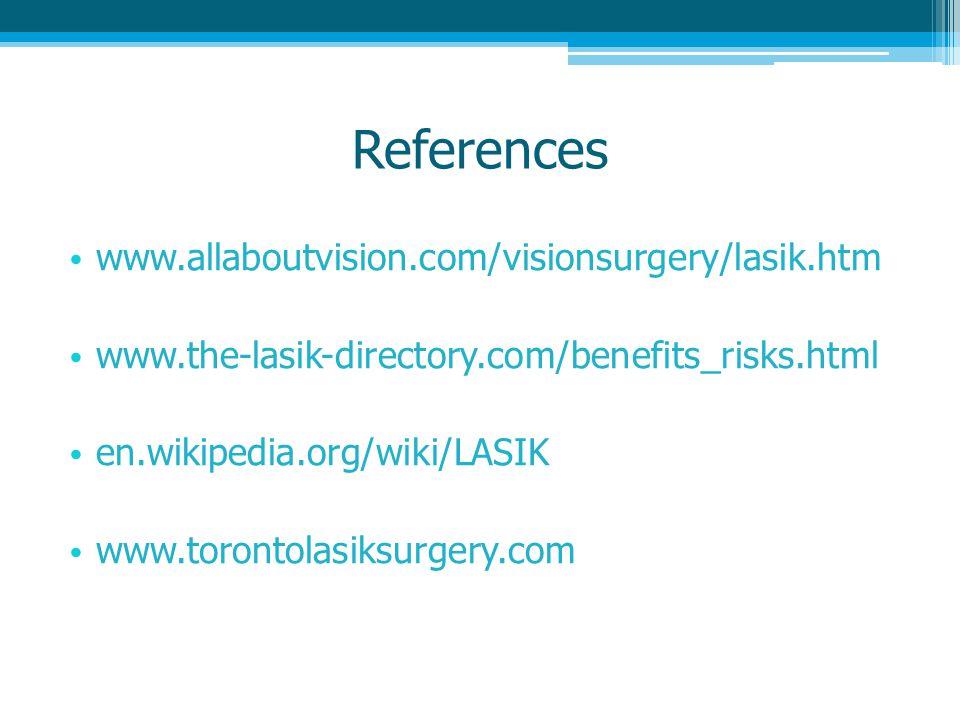 References www.allaboutvision.com/visionsurgery/lasik.htm www.the-lasik-directory.com/benefits_risks.html en.wikipedia.org/wiki/LASIK www.torontolasiksurgery.com