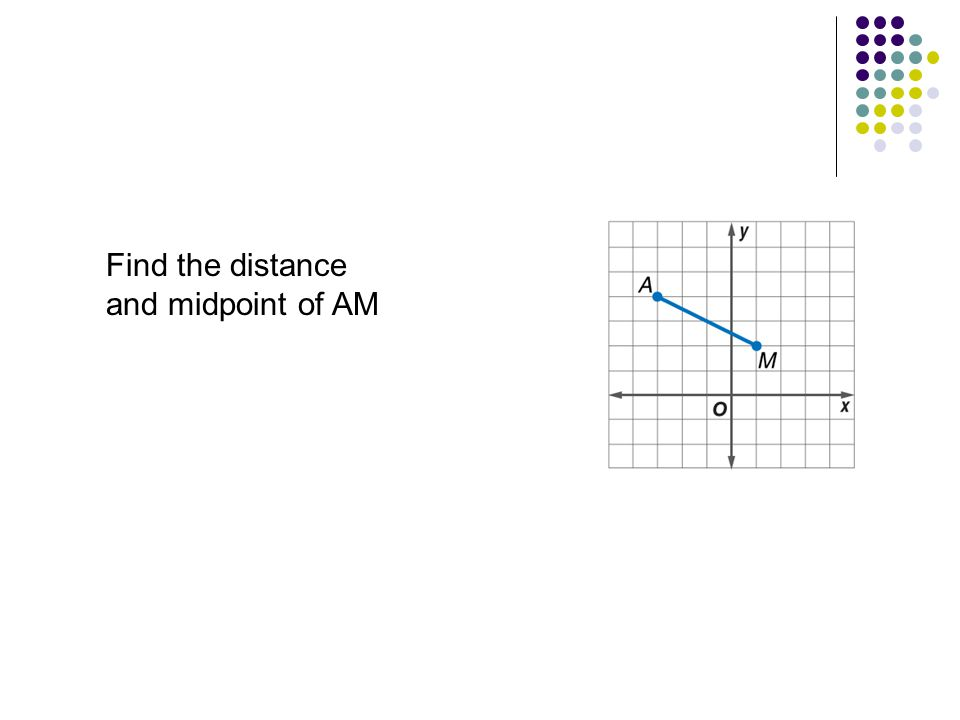 Find the distance and midpoint of AM